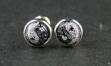 MENS/LADIES YIN YANG BLACK DIAMOND STUD EARRINGS 7 MM