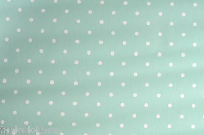 "1.8m/72"" dotty seafoam polka dot oilcloth wipe clean pvc cover TABLE CLOTH CO"