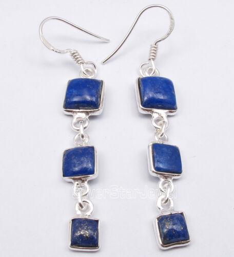 """Argent Sterling 925 Bleu Marine Bleu Lapis Lazuli 3 Square STONE ART Boucles d/'oreilles 2.2/"""""""
