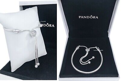 Authentic PANDORA Pavé Heart Clasp Snake Chain Slider Charm Bracelet  598699C01 | eBay