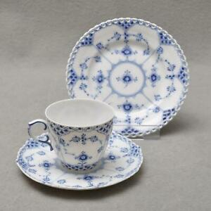 Royal-Copenhagen-Fluted-Full-Lace-3tlg-Coffee-Porcelain-1-Wahl-Plate-Cup