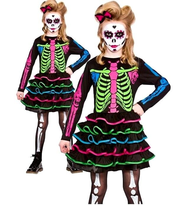 Child SWEET SKULLY CHICK Sugar Dead Halloween Girls Fancy Dress Costume Age 5-13