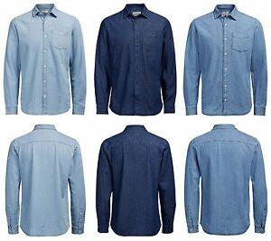 Mens-JACK-amp-JONES-Denim-Shirts-Long-Sleeve-New-Collar-Cotton-Blue-Sale-S-XXL