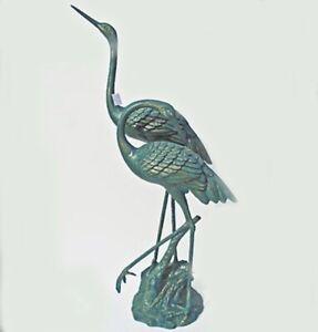 """Cranes On Base 51""""High Statue - Aluminum - Verdigris Finish"""