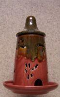 Bird Feeder Ceramic Red Hanging