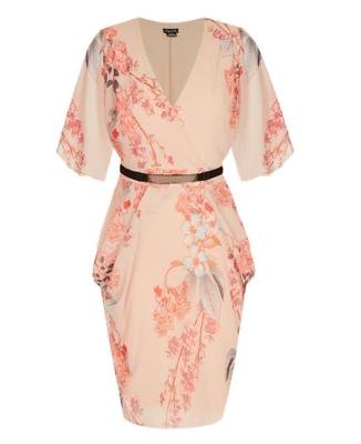 City Chic Ladies Sweet Delilah Dress size 20 Colour Beige Floral