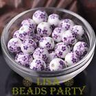 10pcs12mm Round Porcelain Ceramic Flower Loose Big Hole Beads Charms Deep Purple
