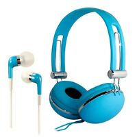 Kids Childrens Adjustable Dj Headphones + Earphones Blue For Ipod Mp3 Mp4 Iphone