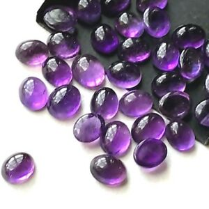 Wholesale-Lot-of-8x6mm-Oval-Cabochon-Natural-Amethyst-Loose-Calibrated-Gemstone
