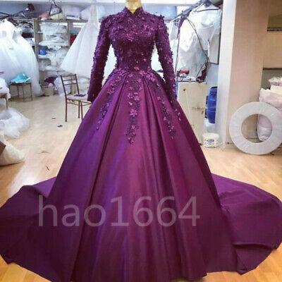 Purple High Neck Wedding Gowns Muslim Long Sleeve Satin Flowers