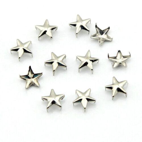 15 20mm Leather Craft 50 x Tachuelas Remaches Punk Cabeza De Uñas Estrella con picos de 10