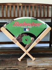 Budweiser Official Beer Of MLB Large Man Cave Baseball Diamond Mirror Wall Sign.