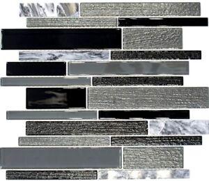 Mosaico piastrella vetro pietra mix grigio nero muro bagno 67 gv44 b 1 foglio ebay - Mosaico vetro bagno ...