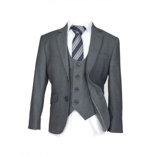 Boys Formal Grey Suit Designer Page Boy Wedding Prom Slim Fit Suit in Gray