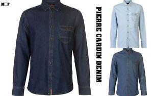 New Mens Pierre Cardin Stylish Lightweight One Pocket Denim Shirt Top Size S-XXL