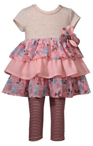 Bonnie-Jean-Super-Cute-Coral-Ruffled-Dress-and-Striped-Leggings-Set-12M-4T