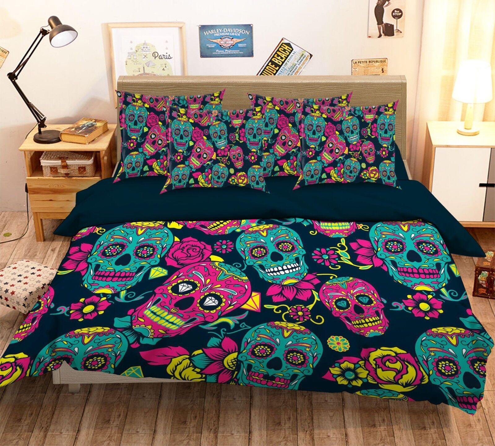 3D Colour Skull 129 Bed Pillowcases Quilt Duvet Single Queen King US Summer