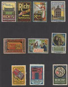 Denmark - Collection of 10 Advertising Stamps for Rich's Malt Products - NG