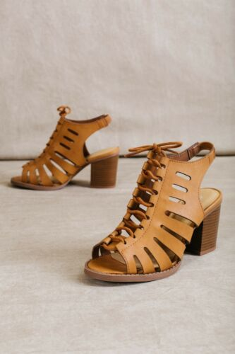 Lace Up Strappy Cut Out Chunky Heel Sandals #OTAGO-S