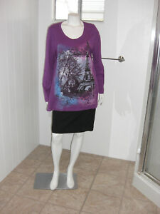 Just-My-Style-Long-Sleeves-Eiffel-Tower-Design-Purple-Top-Sz-1X