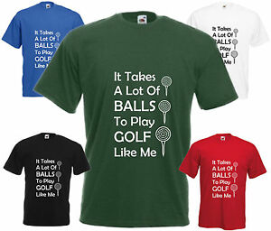 Il-prend-Balles-de-Golf-Drole-T-shirt-humour-blague-tee-top-cadeau-de-Noel