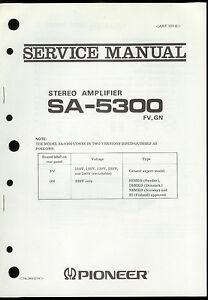 original factory pioneer sa 5300 fv gn stereo amplifier service rh ebay com pioneer elite amplifier manual pioneer a 109 amplifier manual