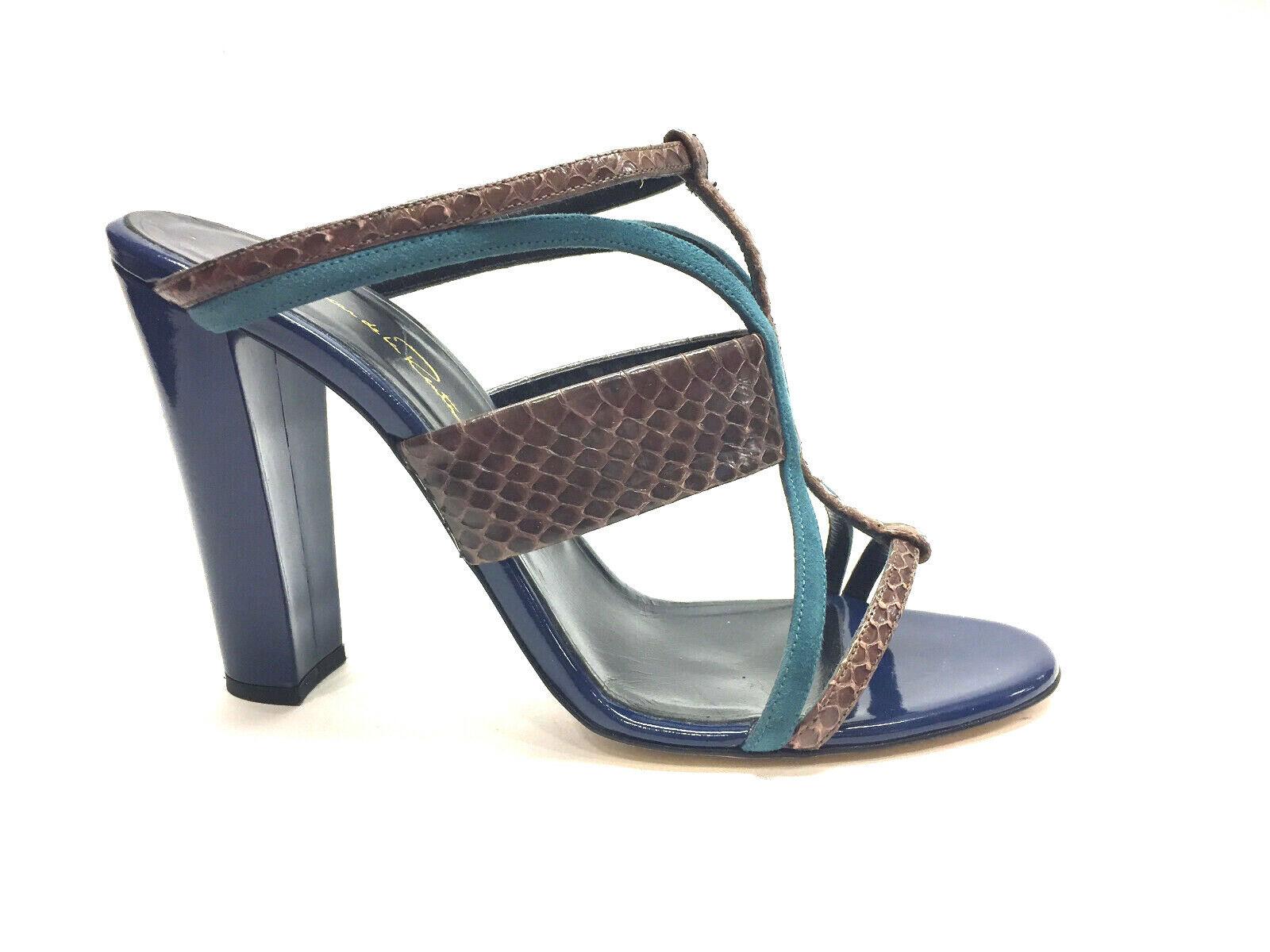 vendita di offerte OSCAR de la RENTA Marrone Python Royal-blu Patent Leather Leather Leather Heel Sandals Sz40  economico e di alta qualità