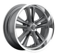 Cpp Foose F099 Knuckle Wheels Rims, 18x8 Front + 18x9.5 Rear, 5x4.75, Gray