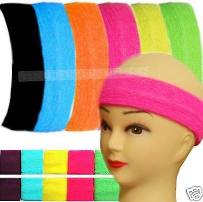 80s Fancy Dress 1980s Retro Headband 2 x Wristbands Sweatbands Neon Fancy Dress