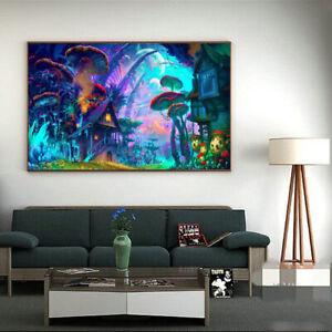 24-039-039-x36-039-039-Silk-Poste-Inch-Psychedelic-Trippy-Mushroom-Town-Art-Fabric-rint-Decor