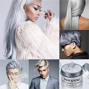 Silber haarfarbe  Grau Asche Silber Haarfarbe Wachs DYE Einmal Styling Färbung ...
