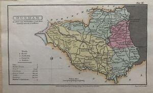 1808 Condado de Durham Original Antiguidade Mão Colorido County Mapa 212 Anos