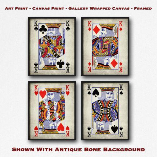 Poker Wall Art Playing Card Print Set Vintage Set of 4 Kings Poster Art