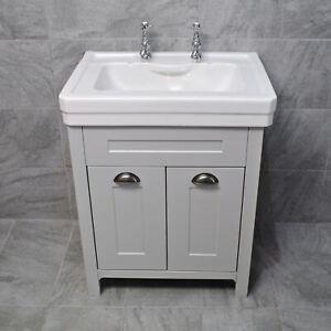 Chichester 700mm Light Grey Bathroom Vanity Unit + 2 Tap ...