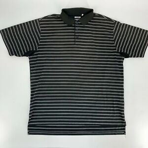 Adidas-Mens-Golf-Shirt-Size-Large-L-Black-Stripe-Clima-Cool-Short-Sleeve-Polo-M