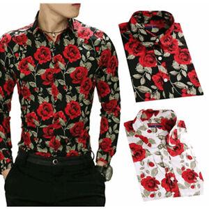 5ff831ba9add2 Image is loading Men-Floral-Rose-Flower-Printing-Long-Sleeve-Polyester-