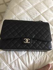 BN Chanel Black Caviar Maxi Double Flap Bag XL Silver Hardware, $6000 retail