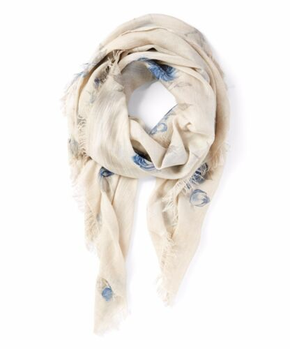 Soft Sheer white and Blue Italian  Scarf 100/% Modal Scarf//summer Beach Wrap