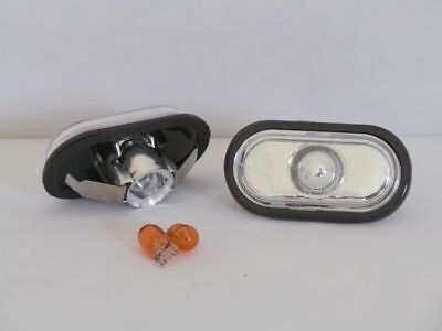 CHROME SIDE MARKER INDICATOR LIGHT REPEATERS RENAULT CLIO MARK 1 1990-1998 BULBS