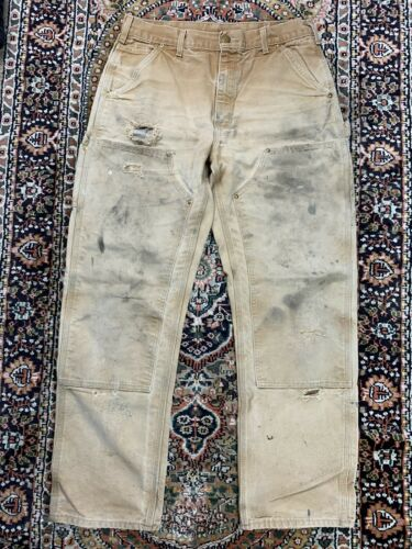 Vtg Carhartt Double Knee Work Pants Size 33x32 Mad