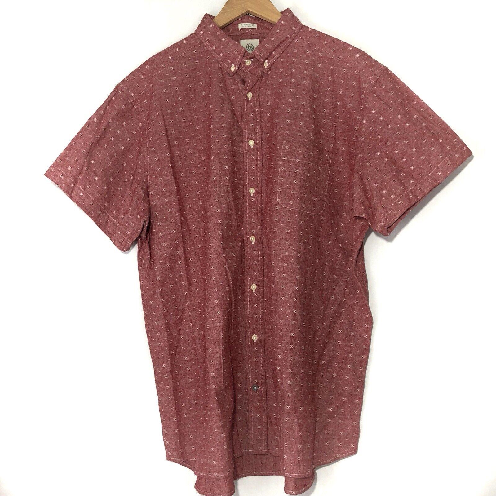 98c65d82c Taylor Stitch Mens Shirt Size 48 3XL XXXL Button Front Red Short Sleeve