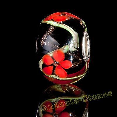 GESCHENK ANDANTE-STONES MASSIV 925 SILBER GLAS SEALIFE BEAD SCHWARZ ROT #1699