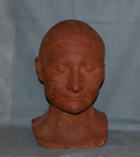 Antique Plaster Life Death Mask Bust Native American Terra Cotta Paint Finish