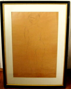 Original-Female-Nude-Drawing-by-Eugenie-Gershoy-Signed-Fine-Art