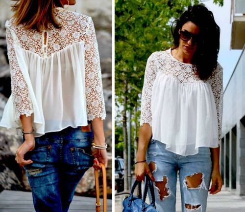 Crochet Lace Zara Blouse Fluid Beautiful qgWgvFt