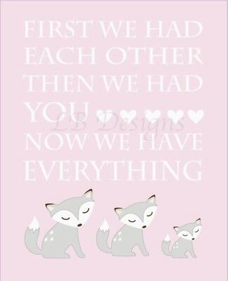 Pink And Gray Baby Fox Nursery