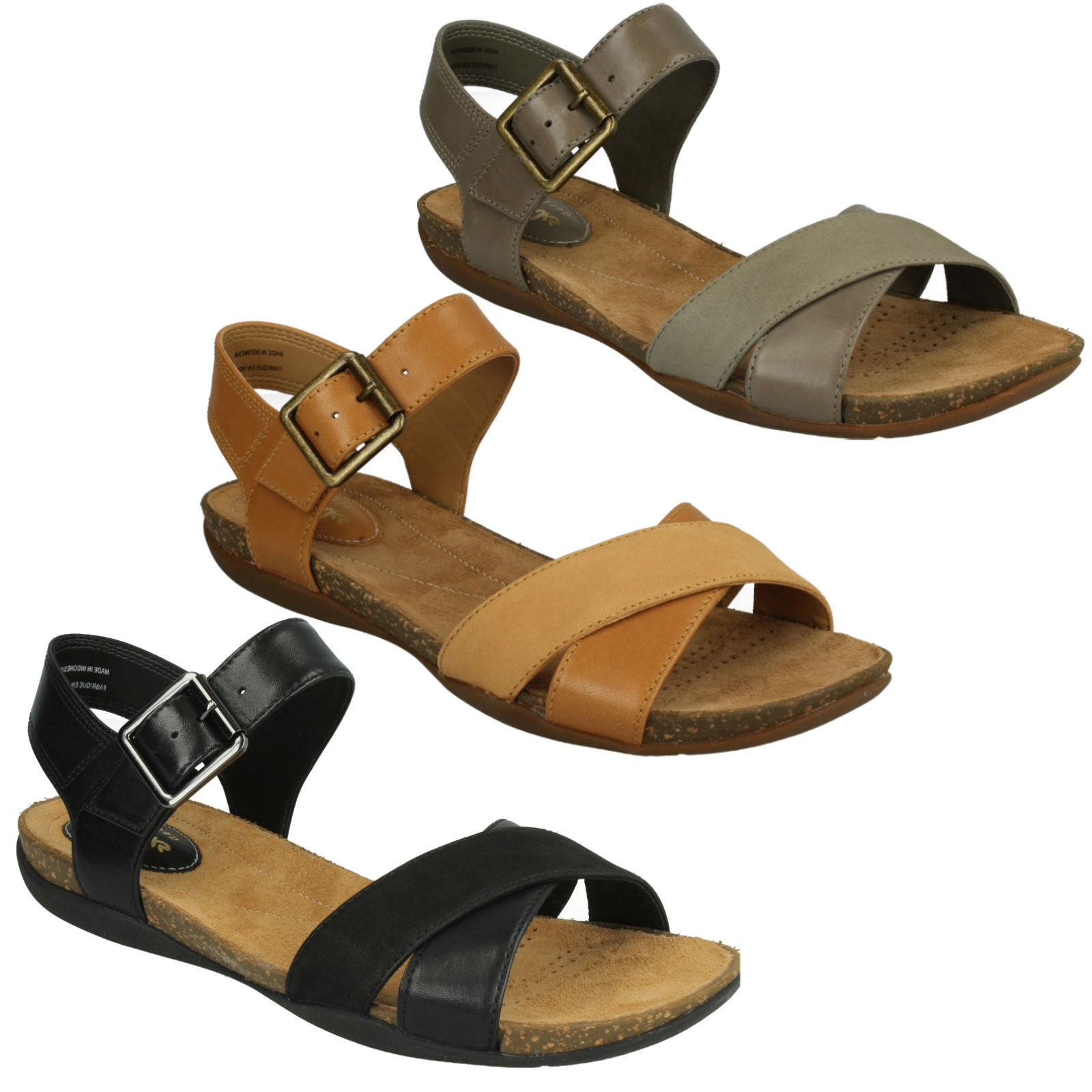 AUTUMN AIR LADIES CLARKS OPEN TOE CROSS OVER BUCKLE ANKLE STRAP CASUAL SANDALS
