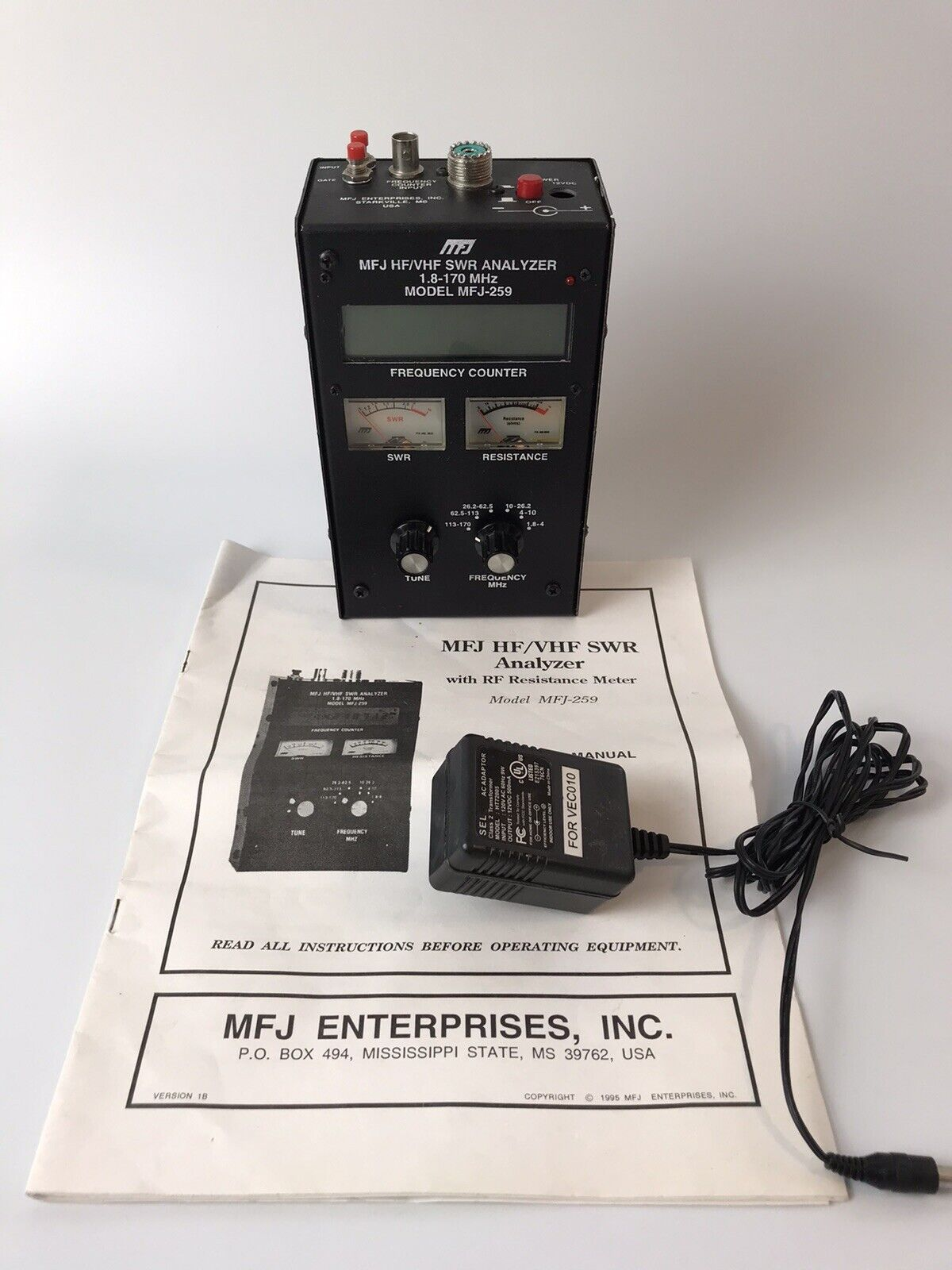 MFJ 259 HF/VHF ANTENNA SWR ANALYZER AND FREQ COUNTER FOR HAM RADIO AMATEUR. Buy it now for 250.00