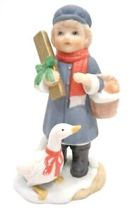 VINTAGE-1970s-HOMCO-BISQUE-PORCELAIN-FIGURINE-BOY-amp-GOOSE-5304-MADE-IN-TAIWAN