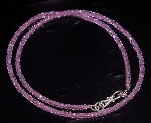 925-Sterling-Silver-12-40-034-Strand-Necklace-Pink-Zircon-3-mm-Round-Beads-GF05